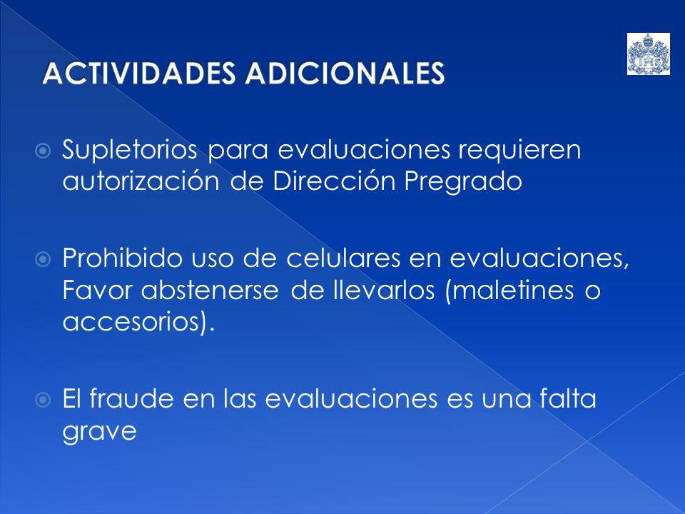 Supletorios para evaluaciones requieren autorización de Dirección Pregrado Prohibido uso de celulares en evaluaciones, Favor abstenerse de llevarlos (maletines o accesorios).