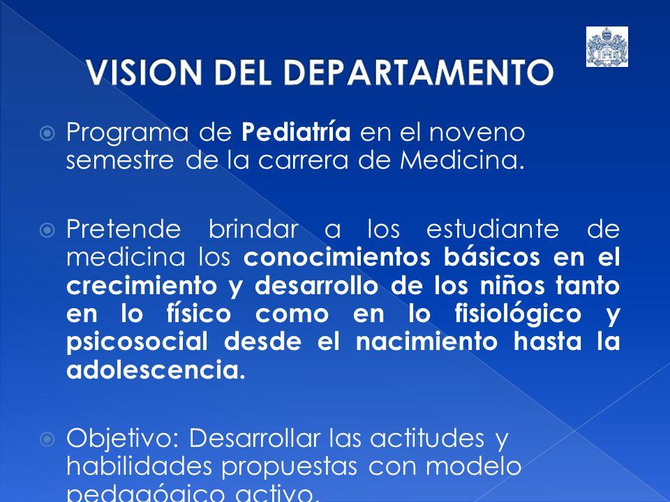 Programa de Pediatría en el noveno semestre de la carrera de Medicina. Pretende brindar a los estudiante de medicina los conocimientos básicos en el c