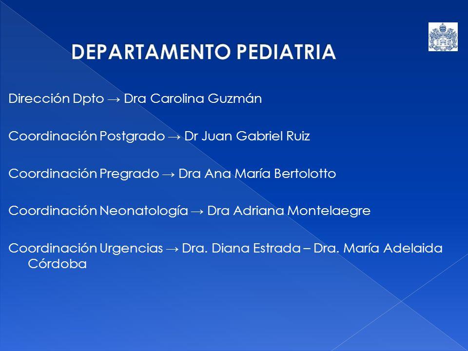 Dirección Dpto Dra Carolina Guzmán Coordinación Postgrado Dr Juan Gabriel Ruiz Coordinación Pregrado Dra Ana María Bertolotto Coordinación Neonatologí