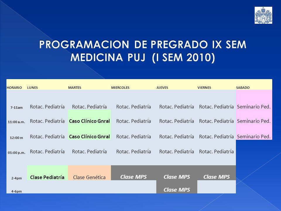 HORARIOLUNESMARTESMIERCOLESJUEVESVIERNESSABADO 7-11am Rotac. Pediatría Seminario Ped. 11:00 a.m. Rotac. PediatríaCaso Clínico GnralRotac. Pediatría Se