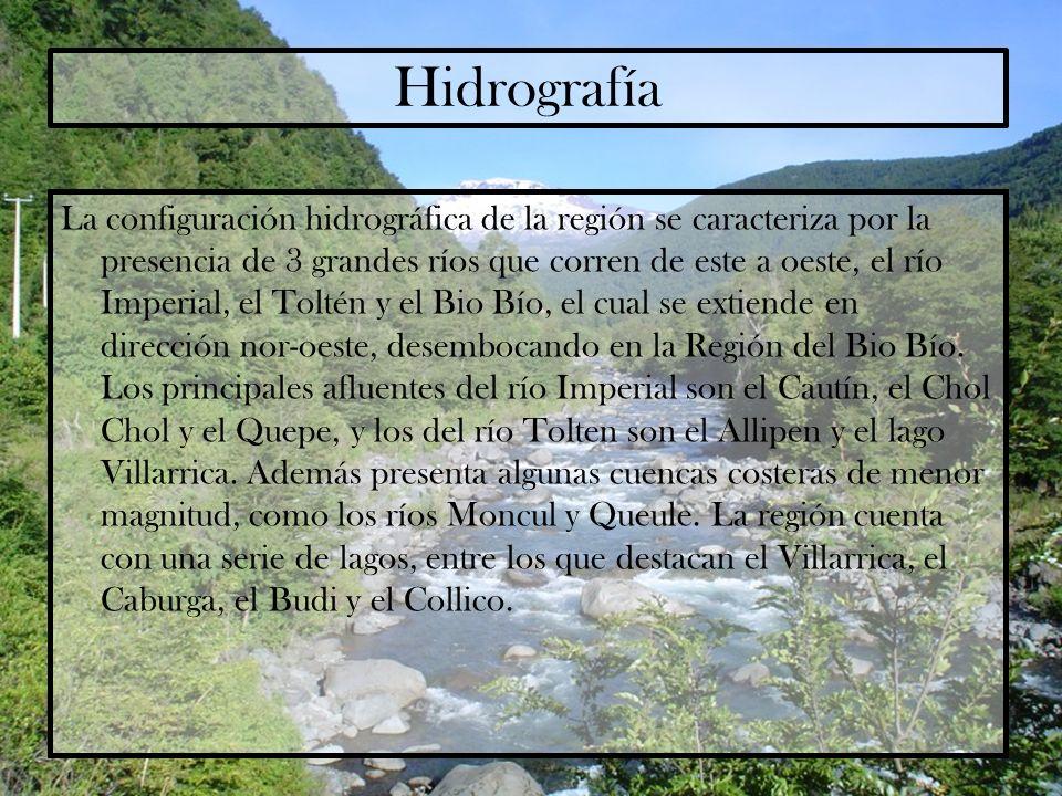 Hidrografía La configuración hidrográfica de la región se caracteriza por la presencia de 3 grandes ríos que corren de este a oeste, el río Imperial,
