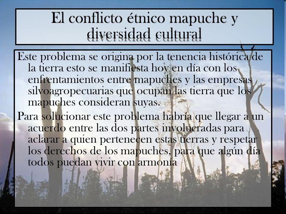 El conflicto étnico mapuche y diversidad cultural Este problema se origina por la tenencia histórica de la tierra esto se manifiesta hoy en día con lo