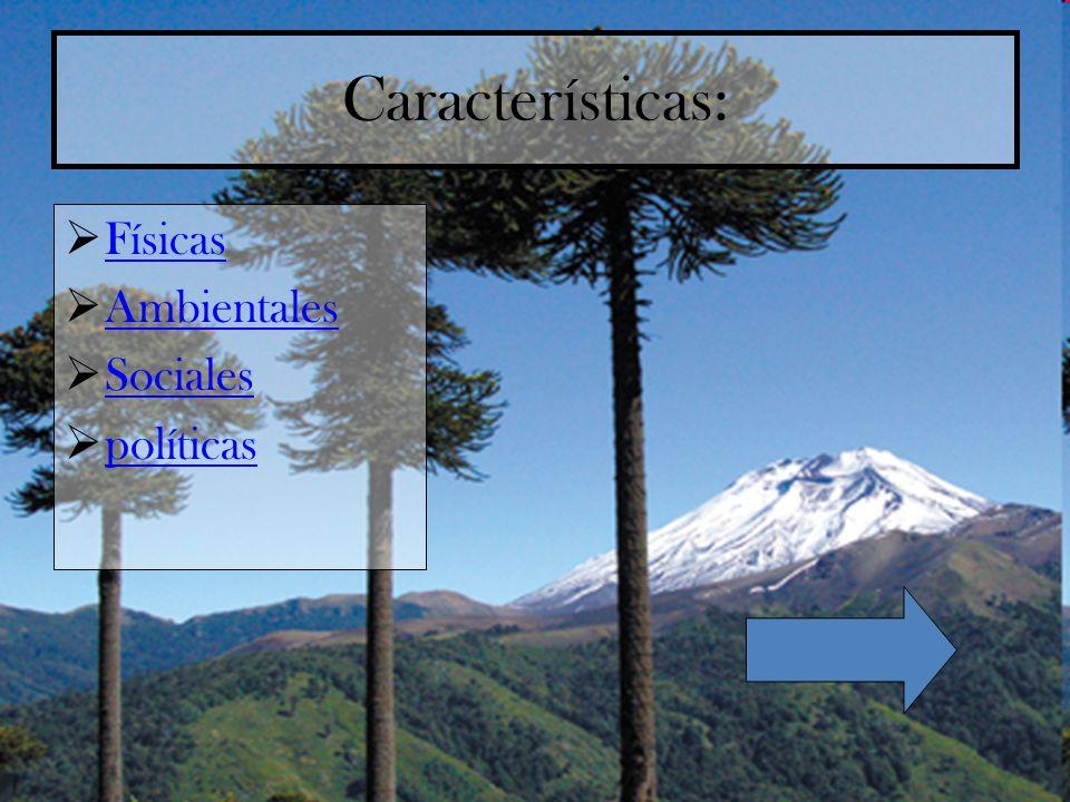 Características: Físicas Ambientales Sociales políticas