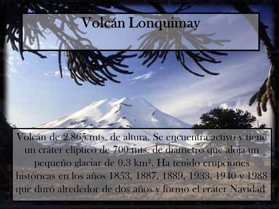 Volcán Lonquimay Volcán de 2.865 mts. de altura. Se encuentra activo y tiene un cráter elíptico de 700 mts. de diámetro que aloja un pequeño glaciar d