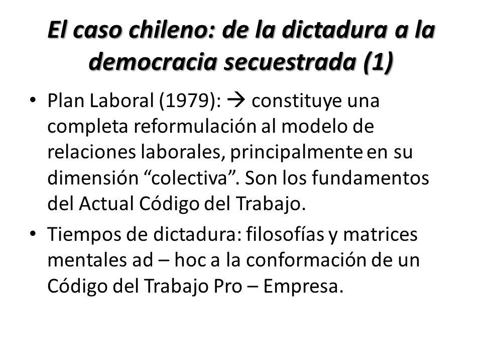 El caso chileno: de la dictadura a la democracia secuestrada (1) Plan Laboral (1979): constituye una completa reformulación al modelo de relaciones la