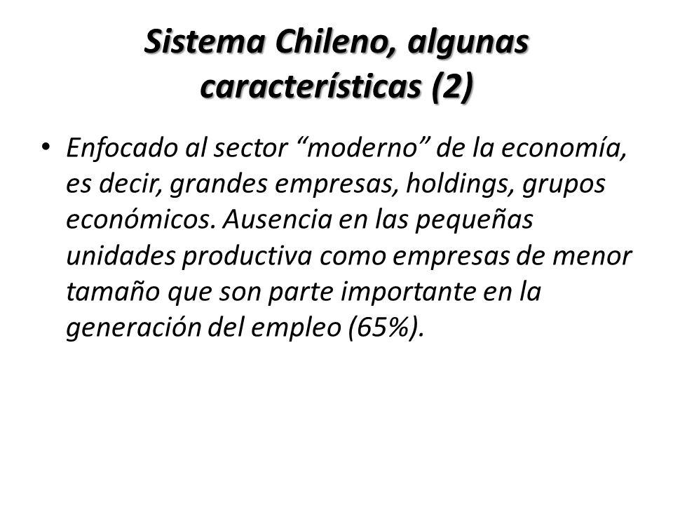 Sistema Chileno, algunas características (2) Enfocado al sector moderno de la economía, es decir, grandes empresas, holdings, grupos económicos. Ausen