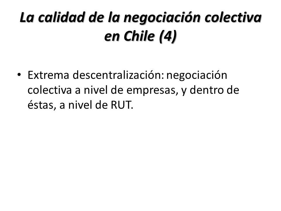 La calidad de la negociación colectiva en Chile (4) Extrema descentralización: negociación colectiva a nivel de empresas, y dentro de éstas, a nivel d