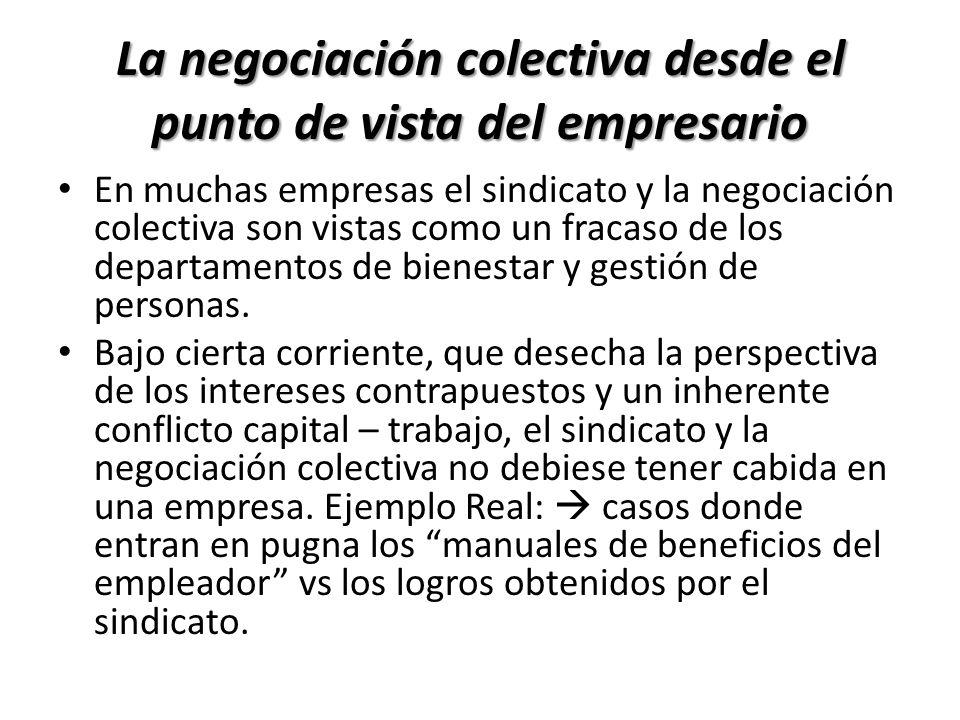 La negociación colectiva desde el punto de vista del empresario En muchas empresas el sindicato y la negociación colectiva son vistas como un fracaso
