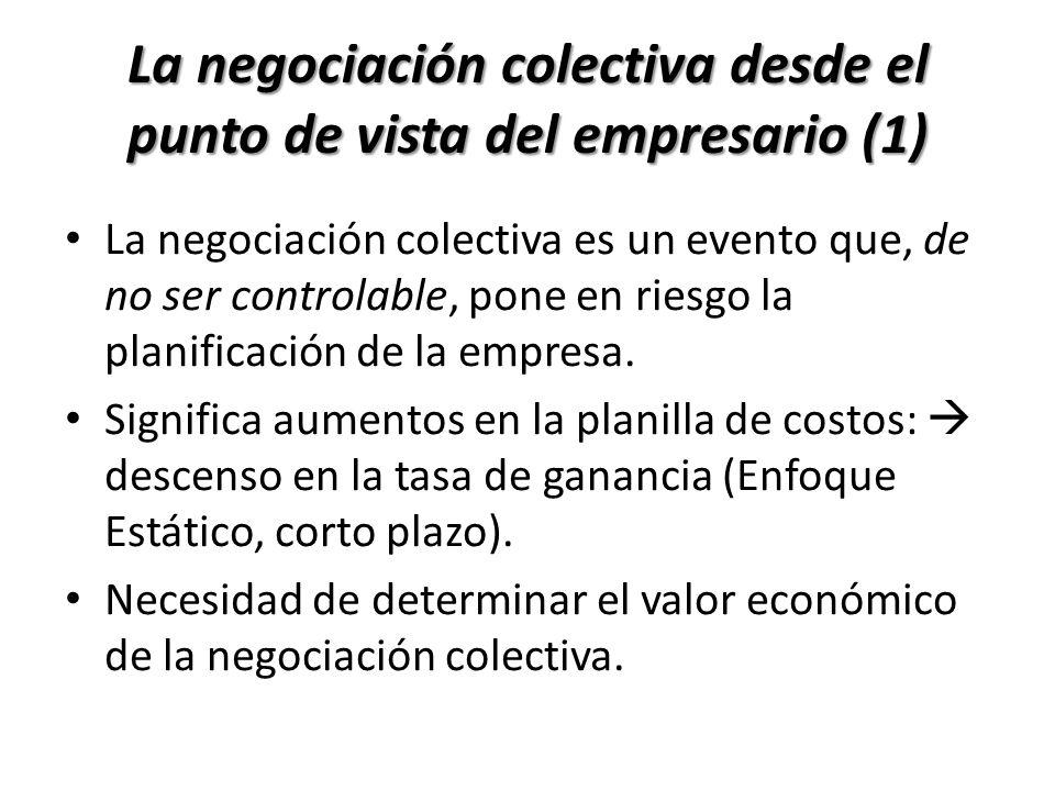 La negociación colectiva es un evento que, de no ser controlable, pone en riesgo la planificación de la empresa. Significa aumentos en la planilla de
