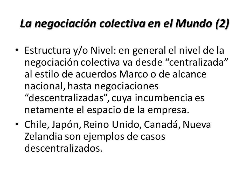La negociación colectiva en el Mundo (2) Estructura y/o Nivel: en general el nivel de la negociación colectiva va desde centralizada al estilo de acue