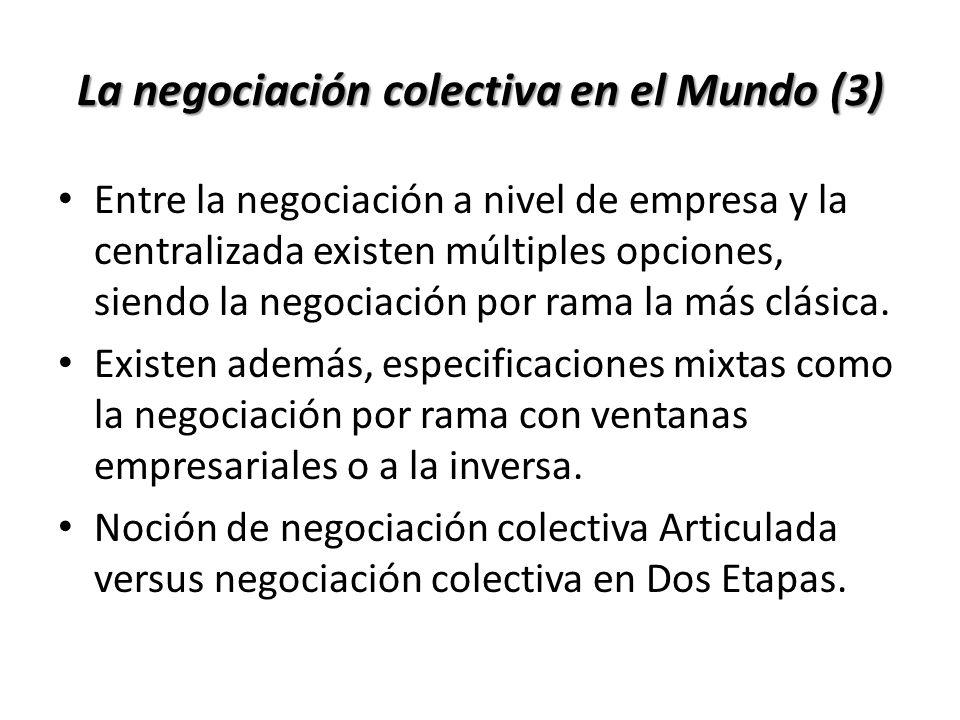 Entre la negociación a nivel de empresa y la centralizada existen múltiples opciones, siendo la negociación por rama la más clásica. Existen además, e