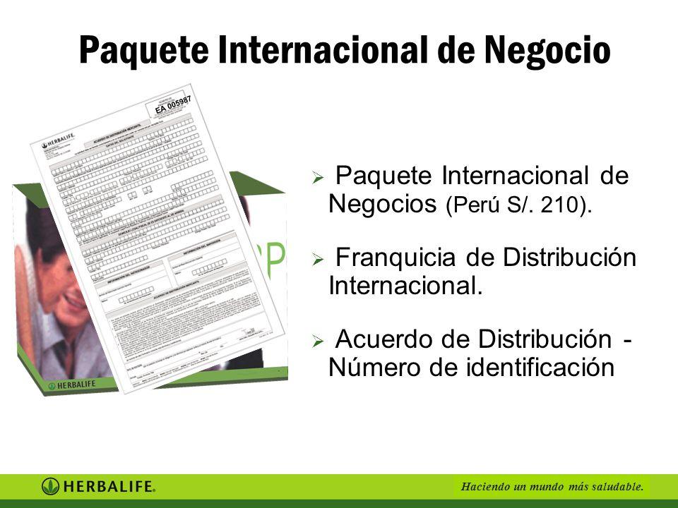 Haciendo un mundo más saludable.Paquete Internacional de Negocios (Perú S/.