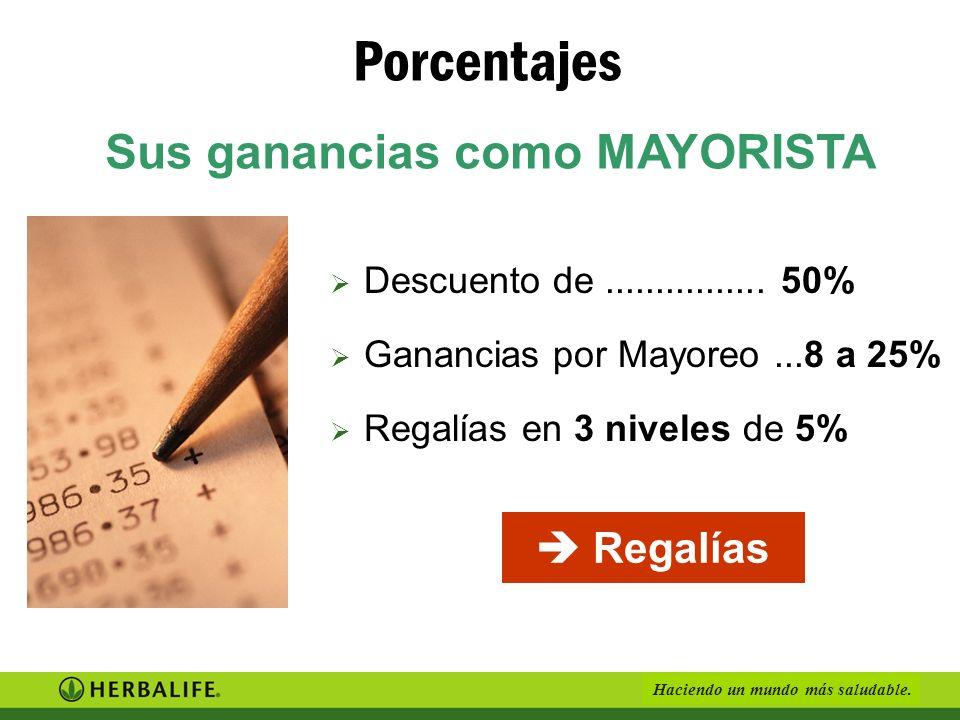 Haciendo un mundo más saludable. Mayorista Venta 50 % Clientes Mayoreo 25 % Distribuidor A 200 PV = 25% Distribuidor B 1.000 PV = 42% Mayoreo 8 % Mayo