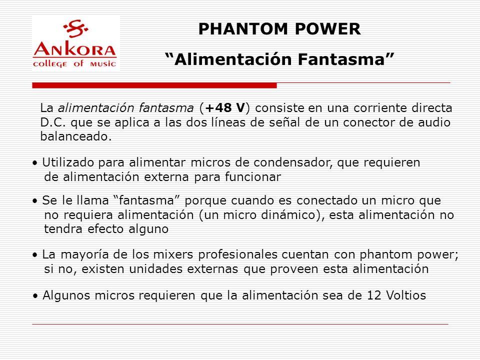 PHANTOM POWER Alimentación Fantasma La alimentación fantasma (+48 V) consiste en una corriente directa D.C. que se aplica a las dos líneas de señal de
