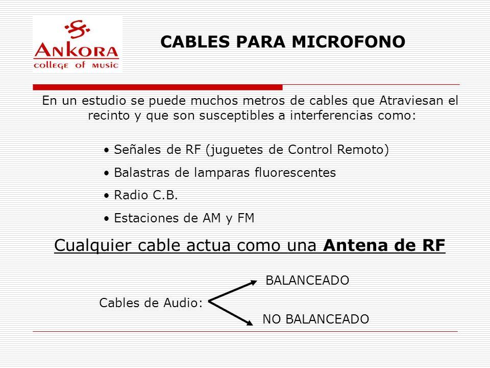 CABLES PARA MICROFONO En un estudio se puede muchos metros de cables que Atraviesan el recinto y que son susceptibles a interferencias como: Señales d