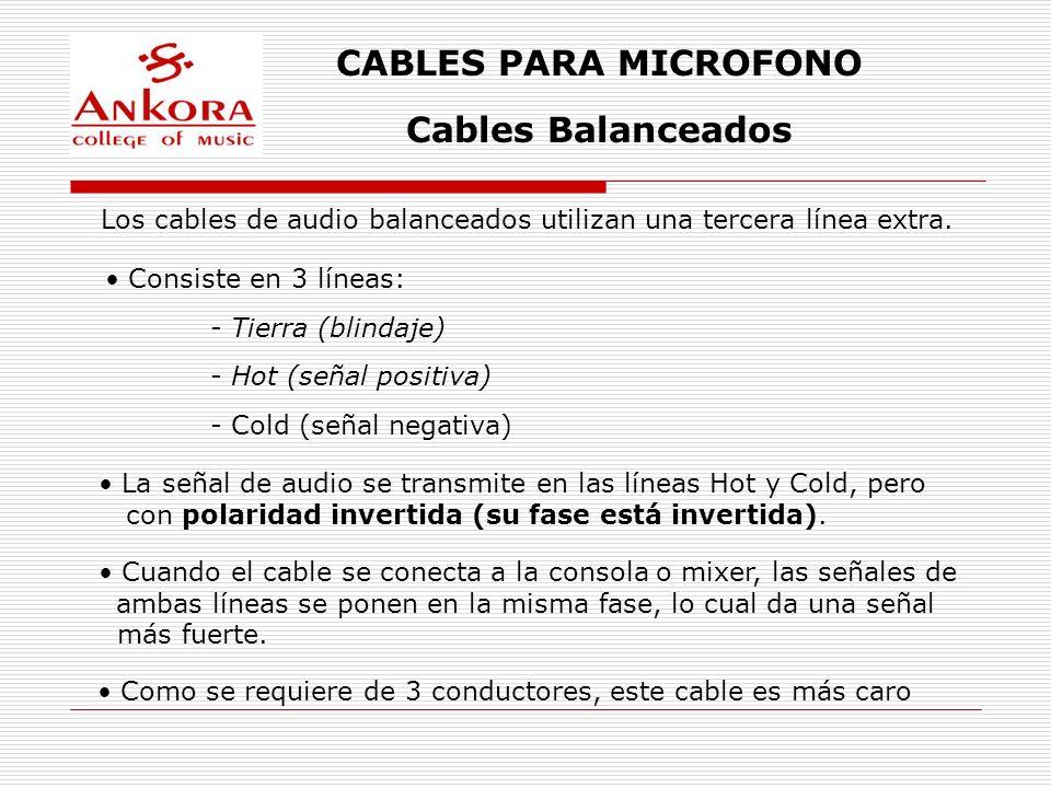 CABLES PARA MICROFONO Cables Balanceados Son muy utilizados en aplicaciones de audio profesional En el proceso de inversión de fase, los ruidos e interferencias captadas por el cable son eliminados La efectividad de un sistema balanceado depende de la calidad de las terminaciones del cable (malas soldaduras, cables muy maltratados, conectores oxidados, etc.) Internamente, los cables van trenzados uno con el otro Se suelen utilizar conectores tipo Cannon XLR en este tipo de cables Son menos susceptibles a interferencias de RF