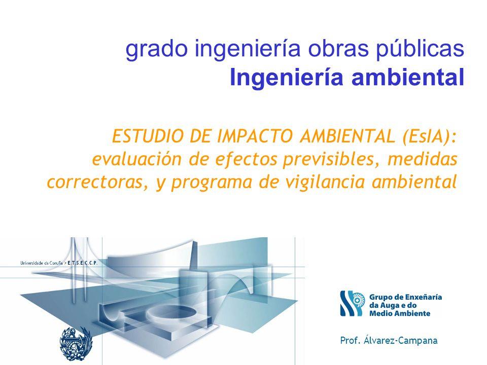 Prof. Álvarez-Campana grado ingeniería obras públicas Ingeniería ambiental ESTUDIO DE IMPACTO AMBIENTAL (EsIA): evaluación de efectos previsibles, med