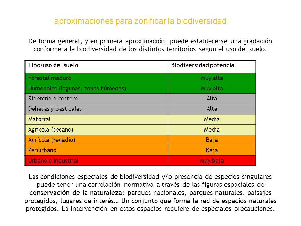 aproximaciones para zonificar la biodiversidad De forma general, y en primera aproximación, puede establecerse una gradación conforme a la biodiversid