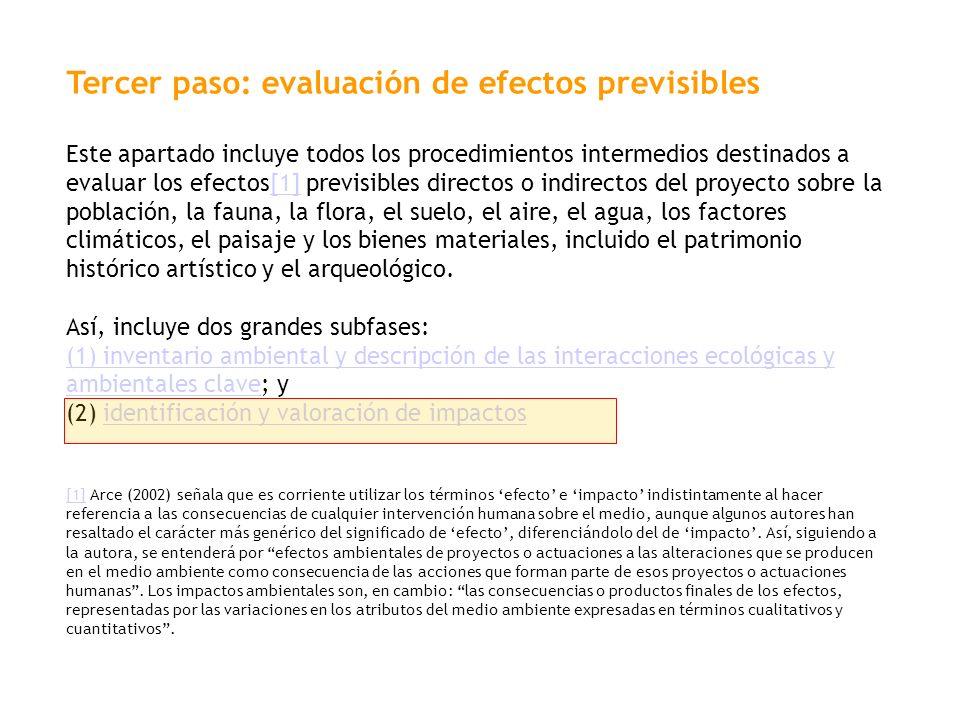 Tercer paso: evaluación de efectos previsibles Este apartado incluye todos los procedimientos intermedios destinados a evaluar los efectos[1] previsib