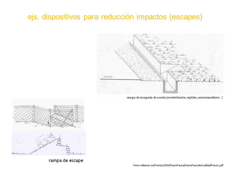 ejs. dispositivos para reducción impactos (escapes) rampa de escape