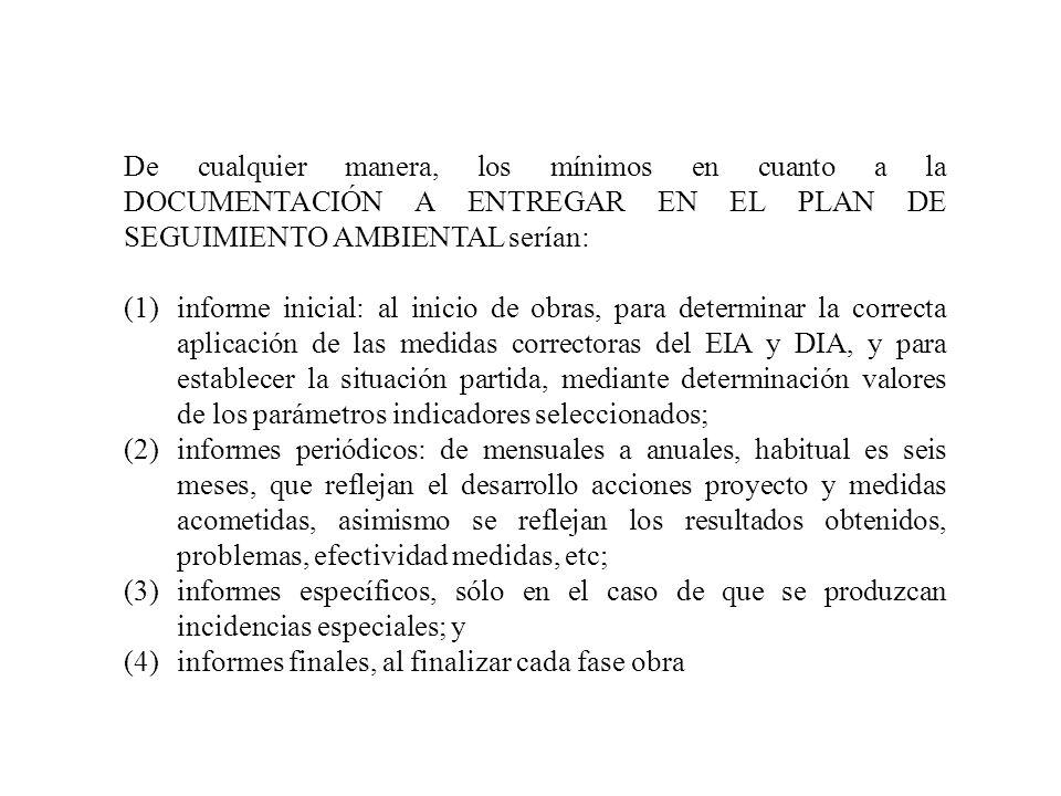 De cualquier manera, los mínimos en cuanto a la DOCUMENTACIÓN A ENTREGAR EN EL PLAN DE SEGUIMIENTO AMBIENTAL serían: (1)informe inicial: al inicio de