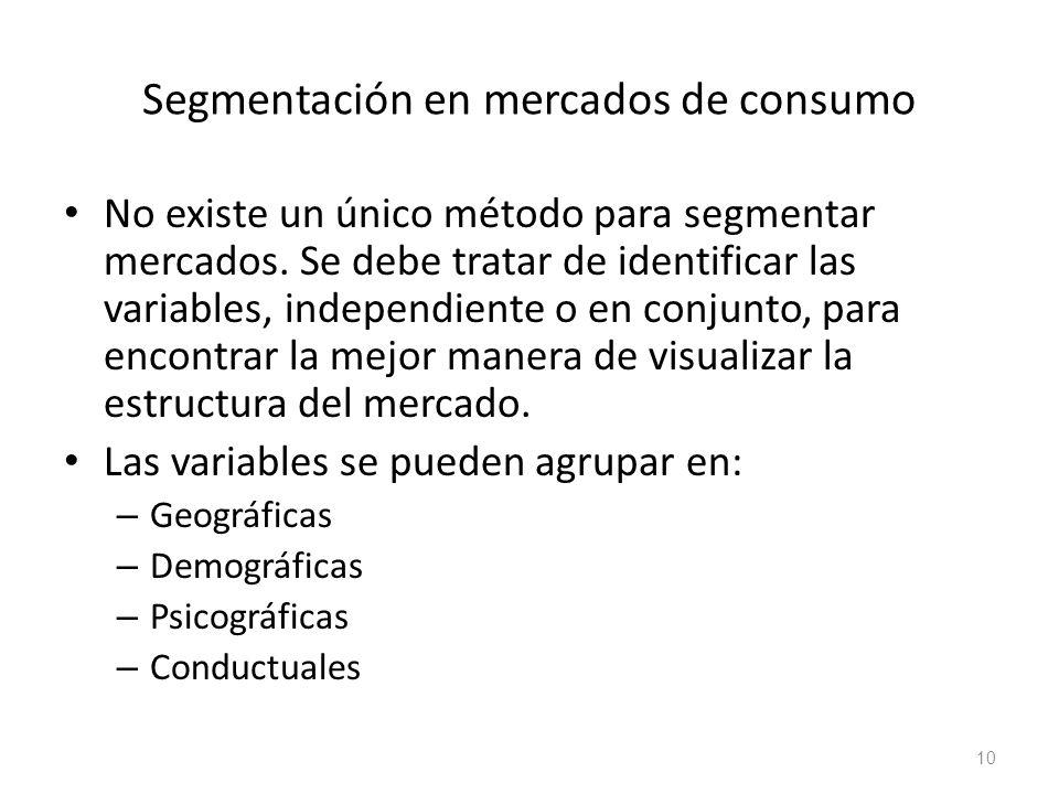 Segmentación en mercados de consumo No existe un único método para segmentar mercados. Se debe tratar de identificar las variables, independiente o en