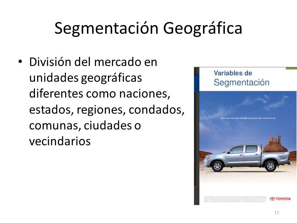 Segmentación Geográfica División del mercado en unidades geográficas diferentes como naciones, estados, regiones, condados, comunas, ciudades o vecind