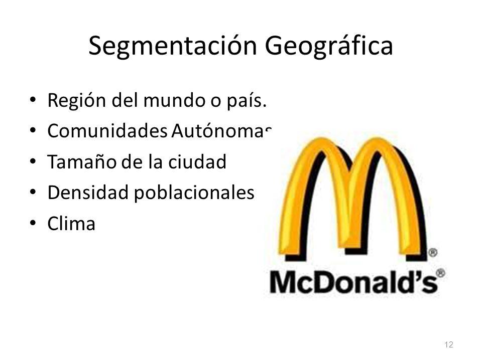 Segmentación Geográfica Región del mundo o país. Comunidades Autónomas Tamaño de la ciudad Densidad poblacionales Clima 12