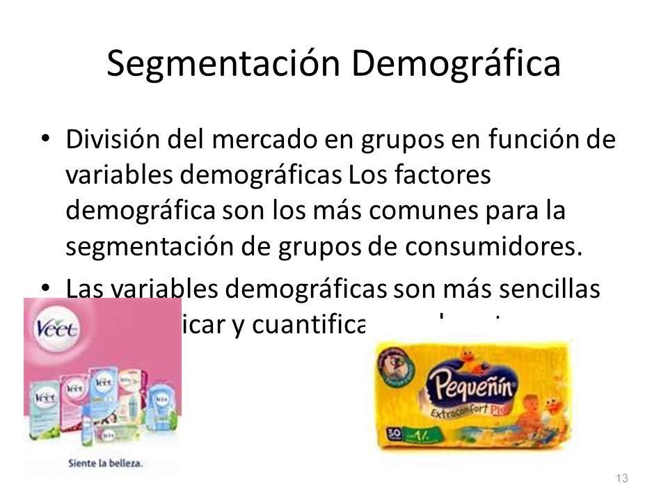 Segmentación Demográfica División del mercado en grupos en función de variables demográficas Los factores demográfica son los más comunes para la segm