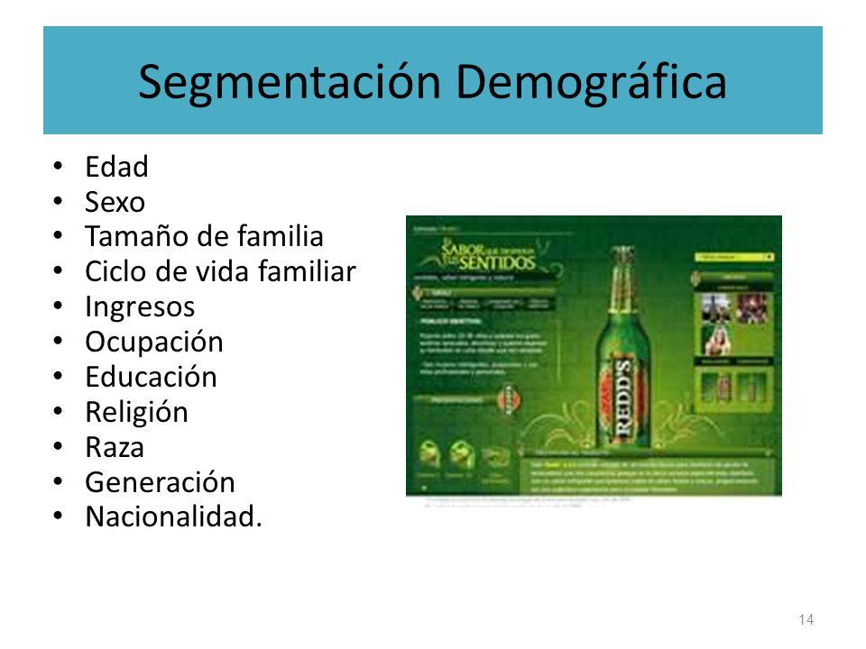 Segmentación Demográfica Edad Sexo Tamaño de familia Ciclo de vida familiar Ingresos Ocupación Educación Religión Raza Generación Nacionalidad. 14