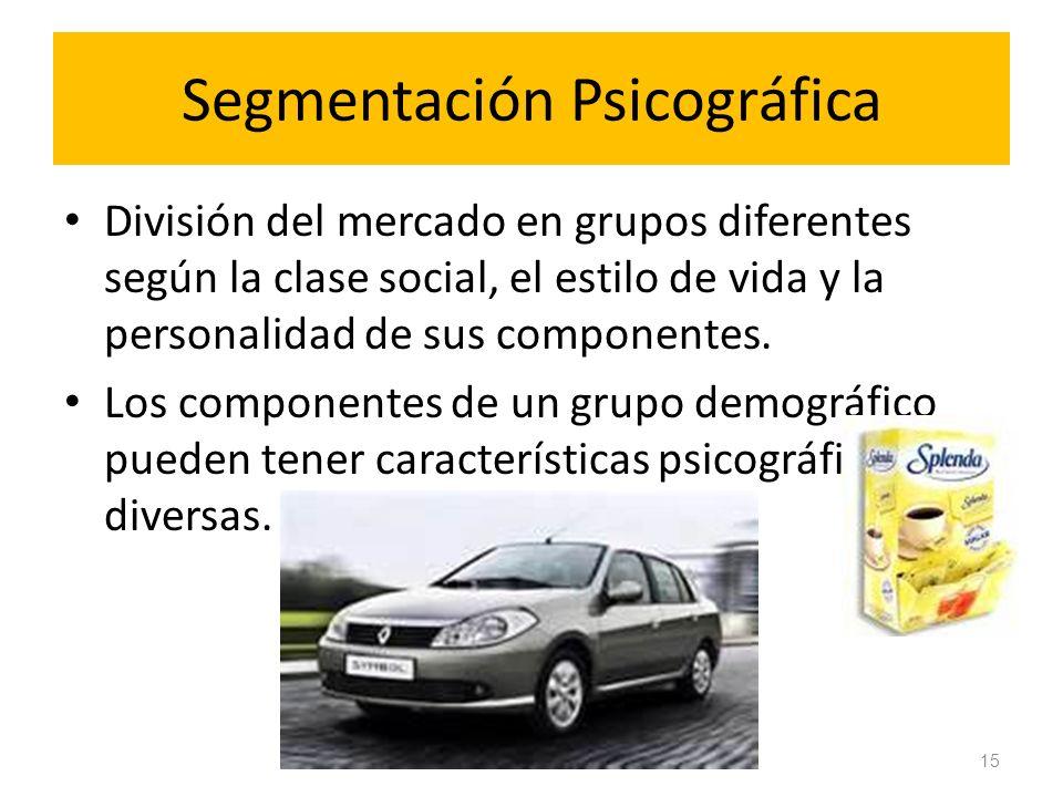 Segmentación Psicográfica División del mercado en grupos diferentes según la clase social, el estilo de vida y la personalidad de sus componentes. Los