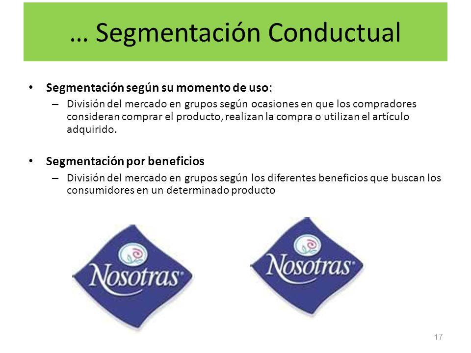 … Segmentación Conductual Segmentación según su momento de uso: – División del mercado en grupos según ocasiones en que los compradores consideran com