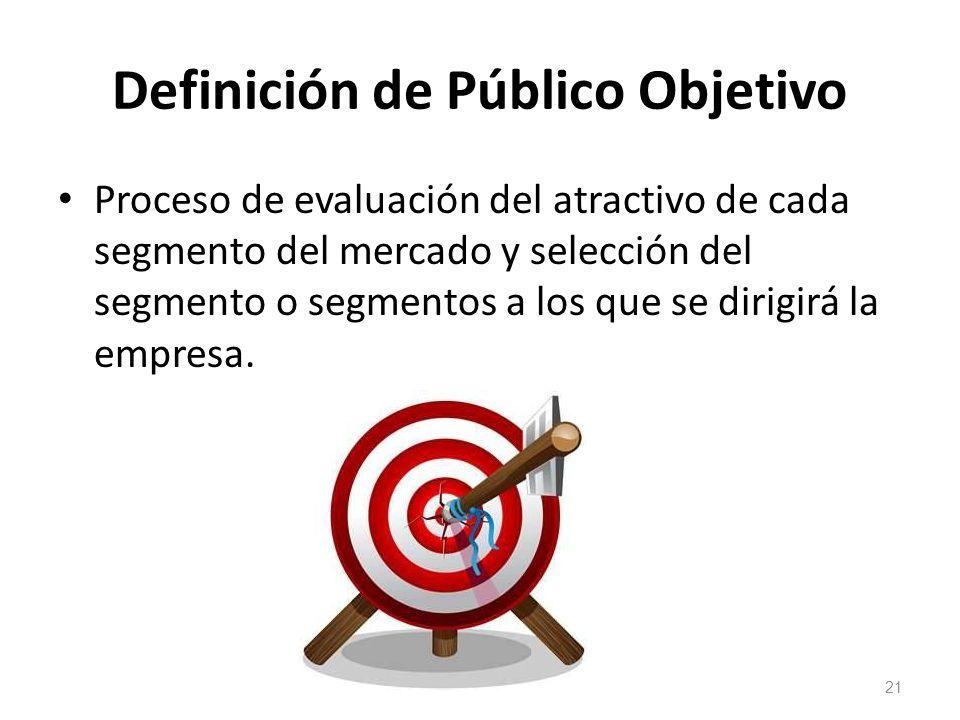 Definición de Público Objetivo Proceso de evaluación del atractivo de cada segmento del mercado y selección del segmento o segmentos a los que se diri
