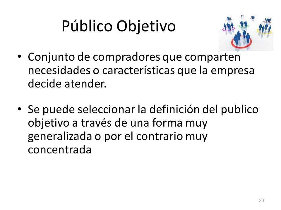 Público Objetivo Conjunto de compradores que comparten necesidades o características que la empresa decide atender. Se puede seleccionar la definición