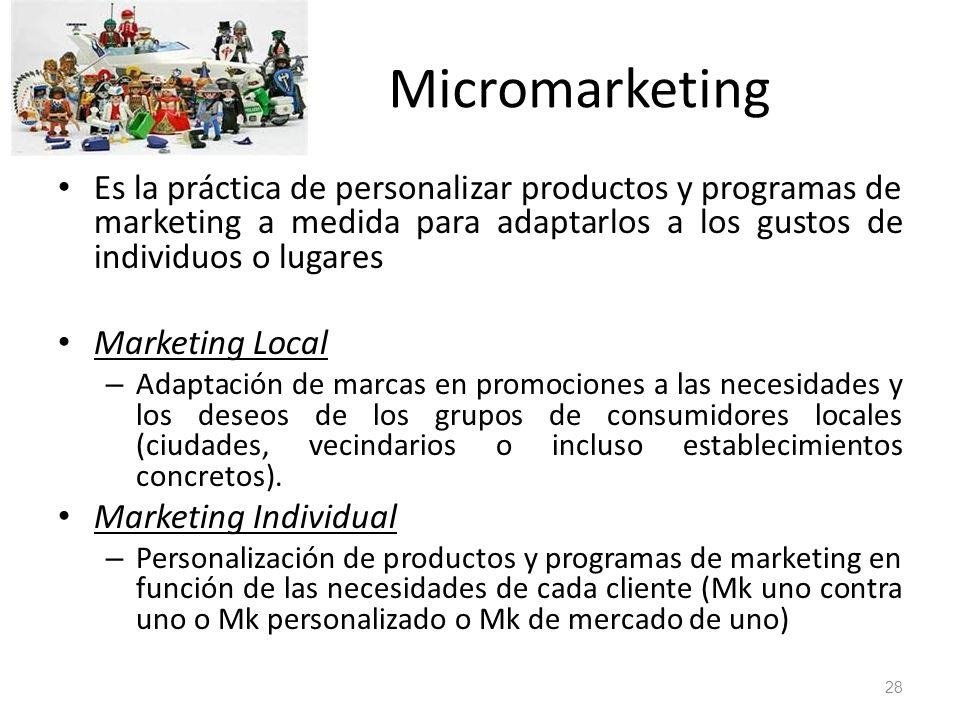 Micromarketing Es la práctica de personalizar productos y programas de marketing a medida para adaptarlos a los gustos de individuos o lugares Marketi