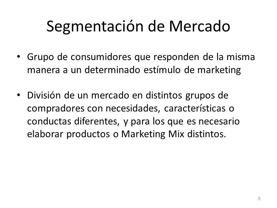 Segmentación de Mercado Grupo de consumidores que responden de la misma manera a un determinado estímulo de marketing División de un mercado en distin