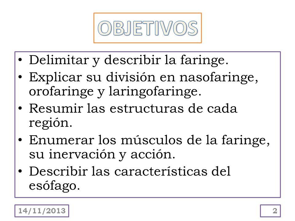 Delimitar y describir la faringe. Explicar su división en nasofaringe, orofaringe y laringofaringe. Resumir las estructuras de cada región. Enumerar l