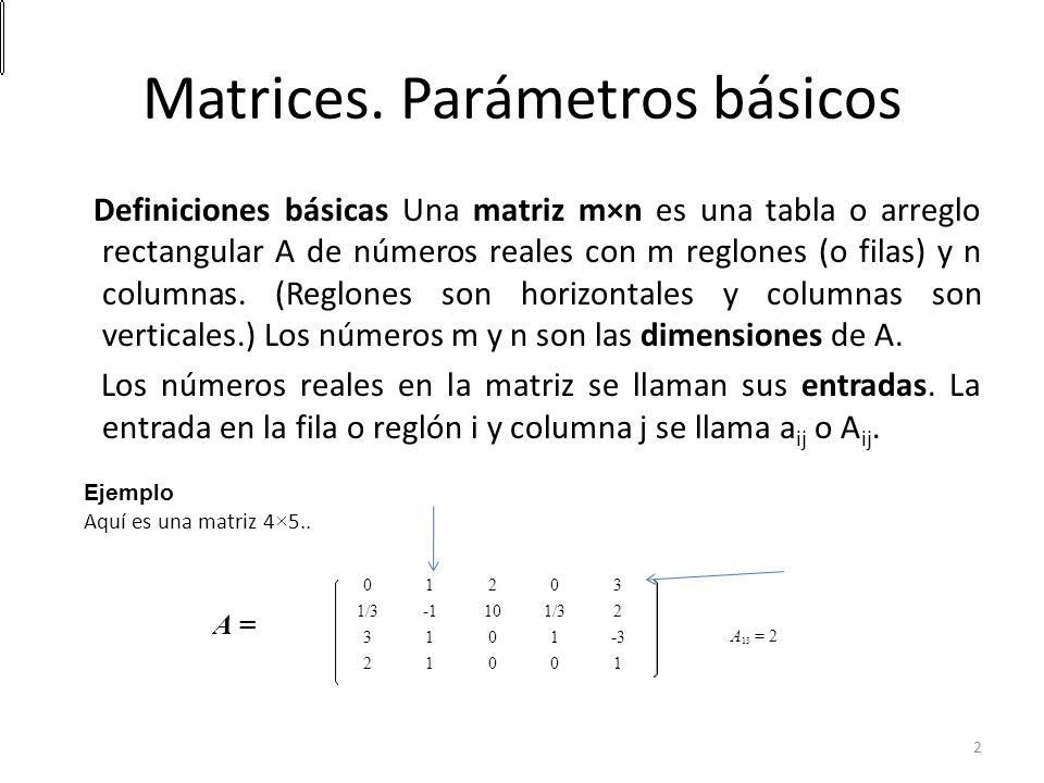 Matrices. Parámetros básicos Definiciones básicas Una matriz m×n es una tabla o arreglo rectangular A de números reales con m reglones (o filas) y n c