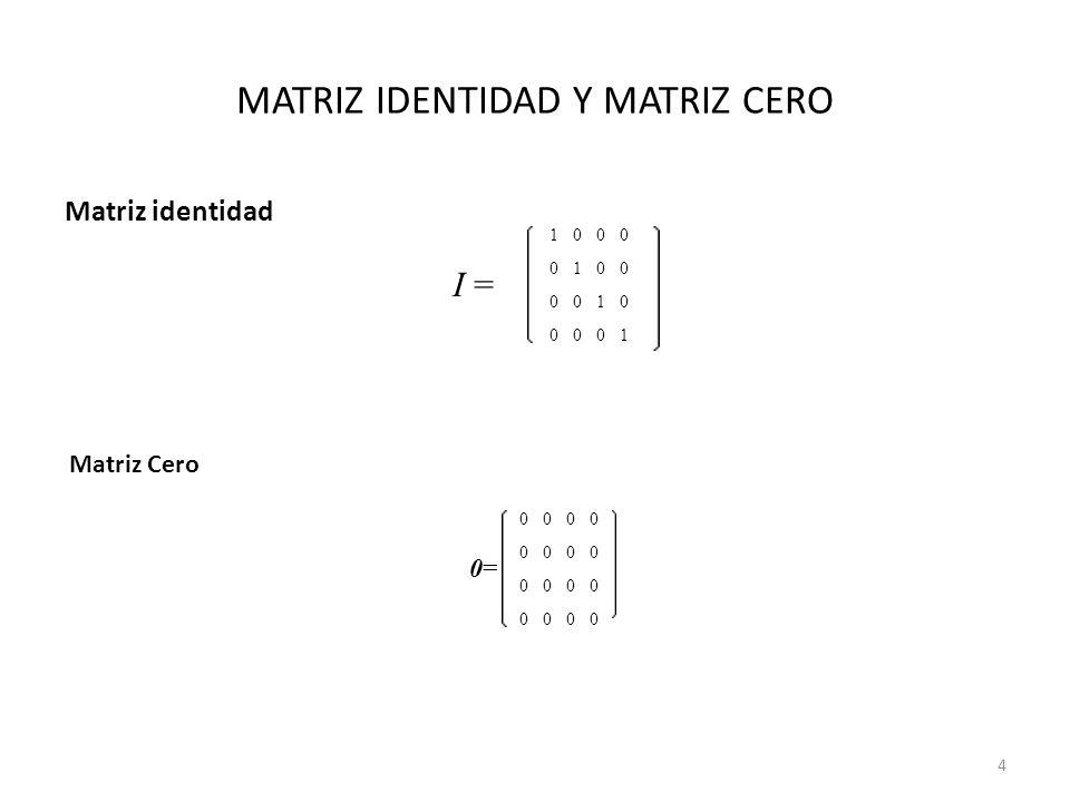 MATRIZ IDENTIDAD Y MATRIZ CERO Matriz identidad I = 1000 0100 0010 0001 0=0= 0000 0000 0000 0000 Matriz Cero 4