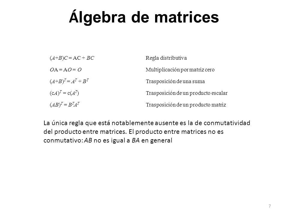 (A+B)C = AC + BCRegla distributiva OA = AO = O Multiplicación por matriz cero (A+B) T = A T + B T Trasposición de una suma (cA) T = c(A T )Trasposició