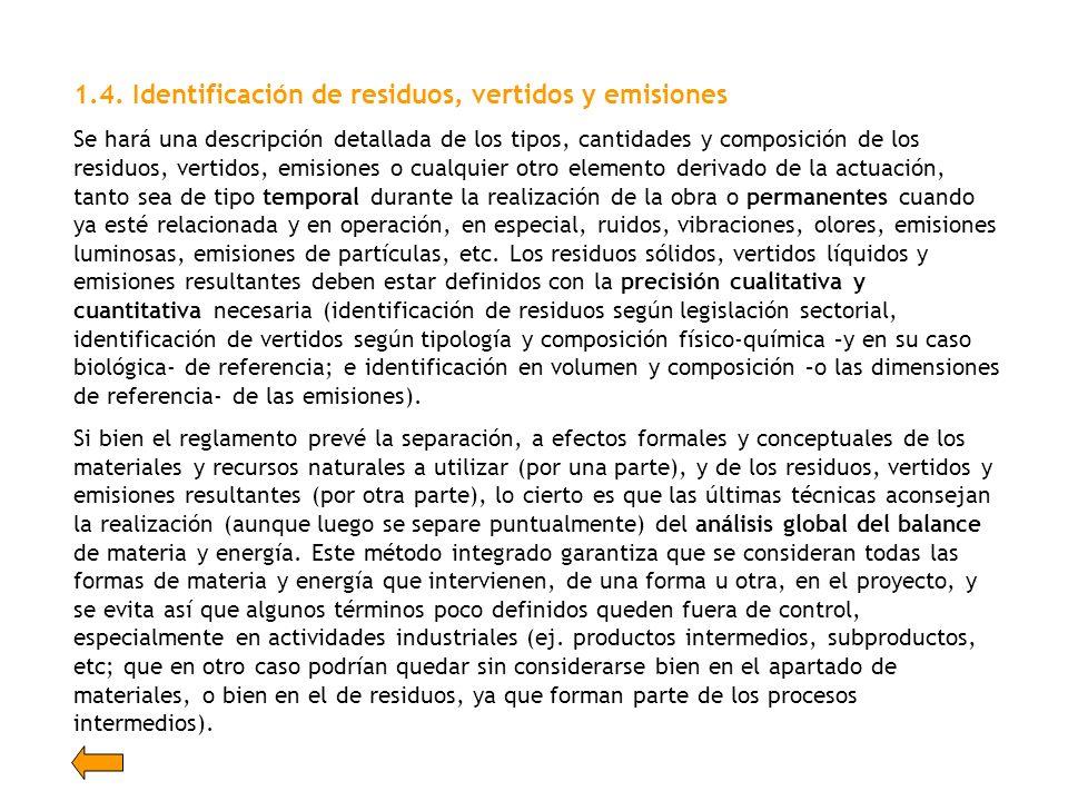 1.4. Identificación de residuos, vertidos y emisiones Se hará una descripción detallada de los tipos, cantidades y composición de los residuos, vertid