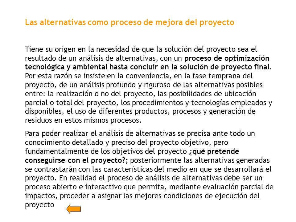 Las alternativas como proceso de mejora del proyecto Tiene su origen en la necesidad de que la solución del proyecto sea el resultado de un análisis d