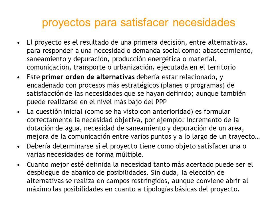 proyectos para satisfacer necesidades El proyecto es el resultado de una primera decisión, entre alternativas, para responder a una necesidad o demand