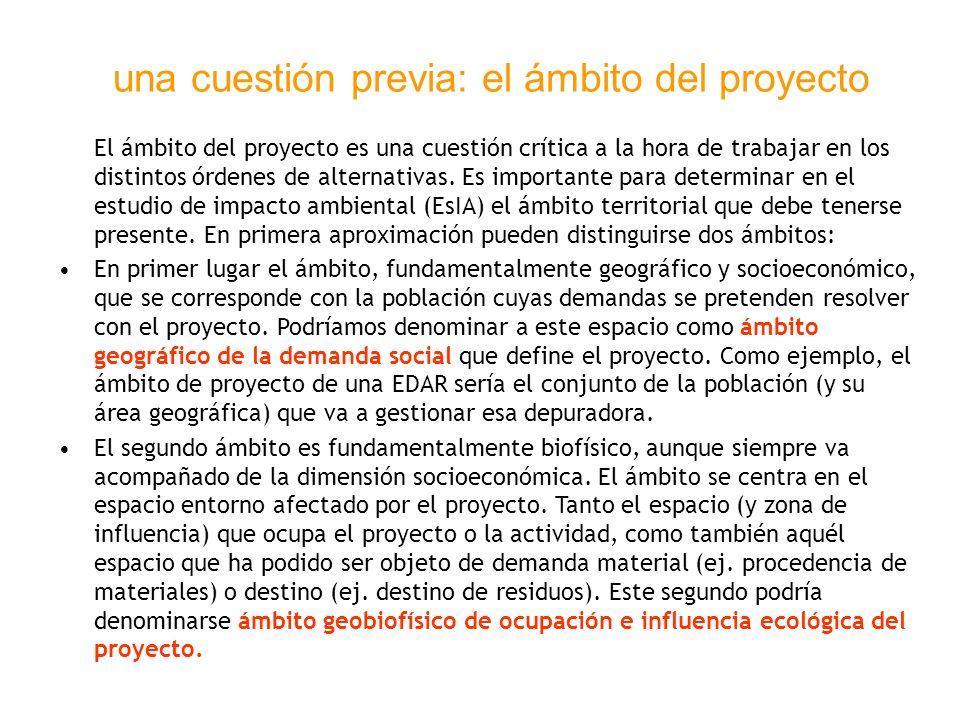 una cuestión previa: el ámbito del proyecto El ámbito del proyecto es una cuestión crítica a la hora de trabajar en los distintos órdenes de alternati