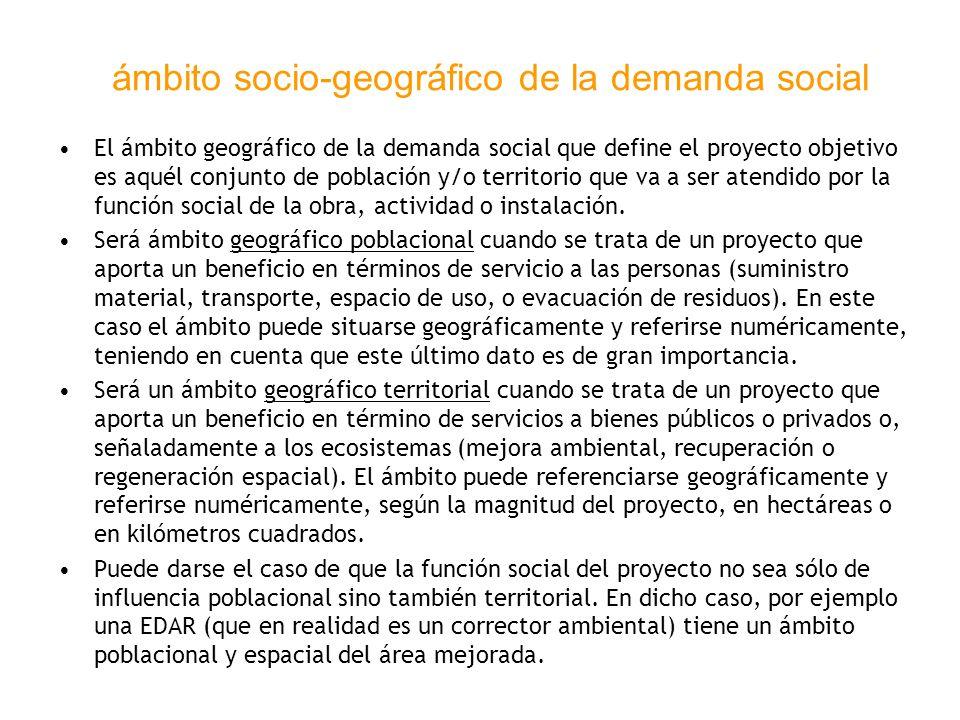ámbito socio-geográfico de la demanda social El ámbito geográfico de la demanda social que define el proyecto objetivo es aquél conjunto de población