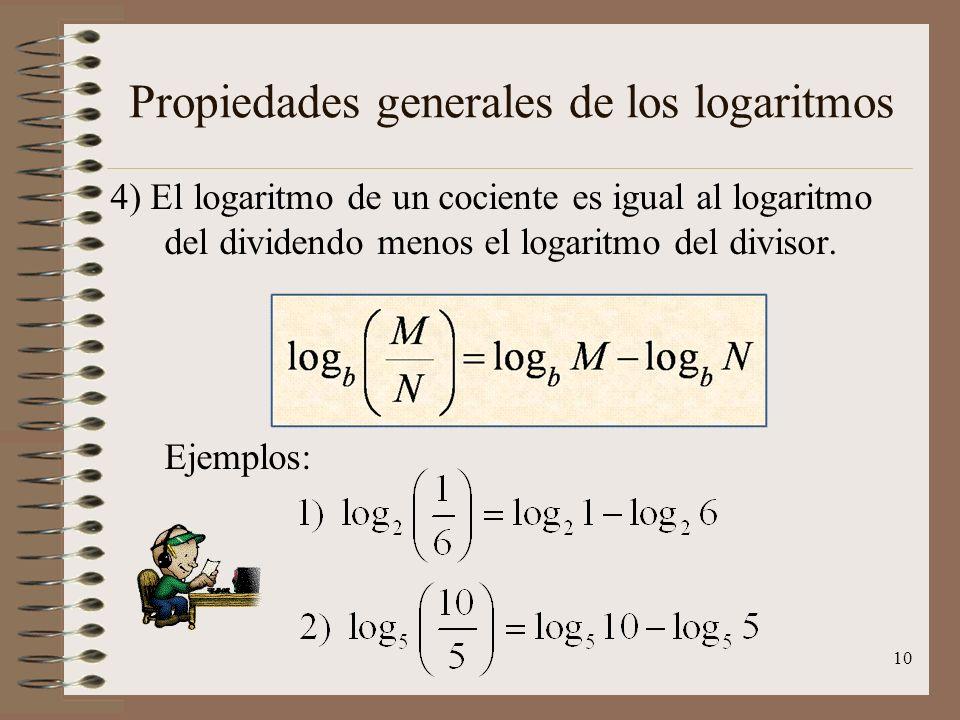 Propiedades generales de los logaritmos 3) El logaritmo de un producto es igual a la suma de los logaritmos de los factores. Ejemplos: 9
