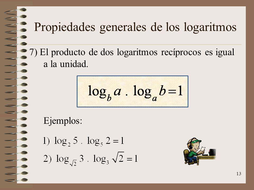 Propiedades generales de los logaritmos 6) El logaritmo de una raíz es igual al logaritmo del radicando dividido entre el índice. Ejemplos: 12