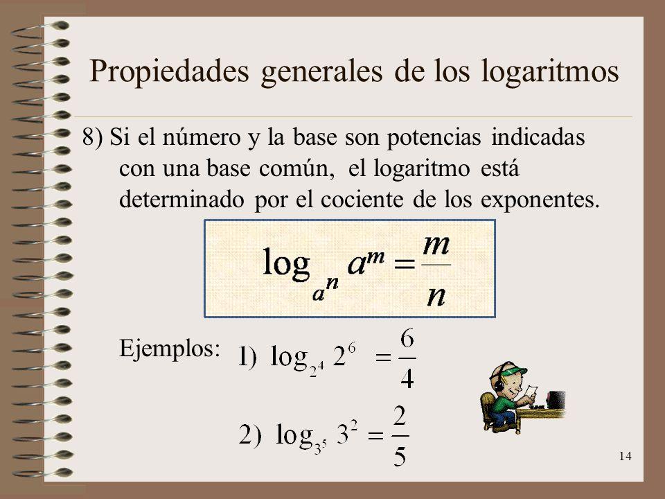 Propiedades generales de los logaritmos 7) El producto de dos logaritmos recíprocos es igual a la unidad. Ejemplos: 13