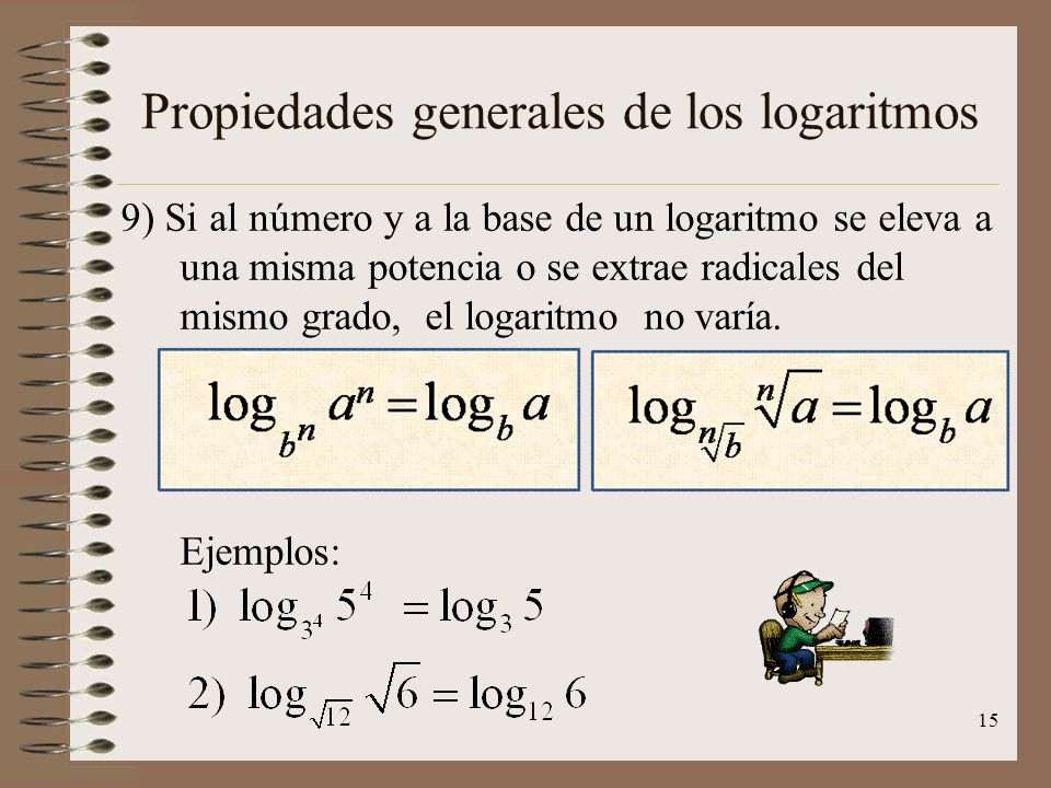 Propiedades generales de los logaritmos 8) Si el número y la base son potencias indicadas con una base común, el logaritmo está determinado por el coc
