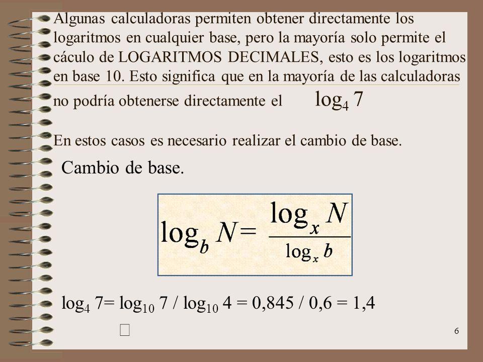 Expresión de los logaritmos Los logaritmos se expresan de dos formas: Forma exponencial y forma logarítmica. Estas expresiones son convertibles de la